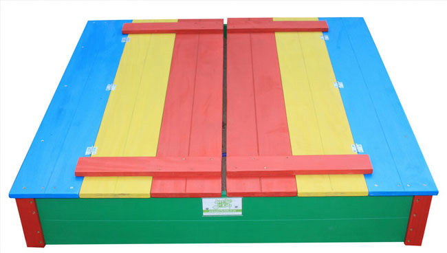 Just for Kids - coloured 4 seater sandpits closed