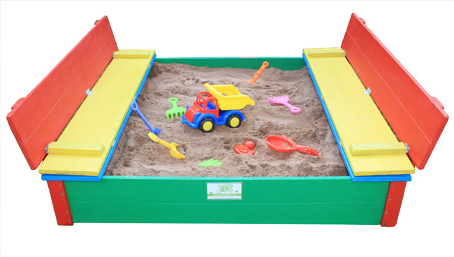 Just for Kids - coloured 4 seater sandpits opened