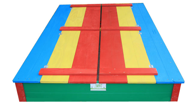 Just for Kids - coloured 8 seater sandpits closed