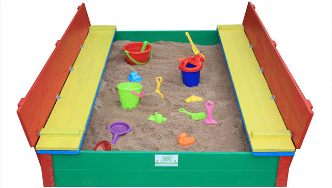Just for Kids - coloured 8 seater sandpits opened