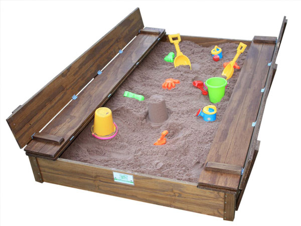 Just for Kids - Folding bench sandpits with kids playing