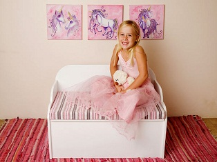 Just for Kids - Kids Toy Box Bench in pink with smiling girl
