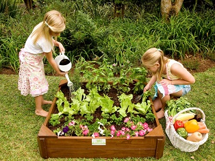 Just for Kids - Vegetable Garden Box with children